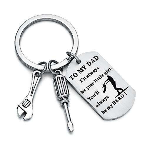 Keychain For Dad I'll Always Be Your Little Girl, You Will Always Be My Hero Keychain