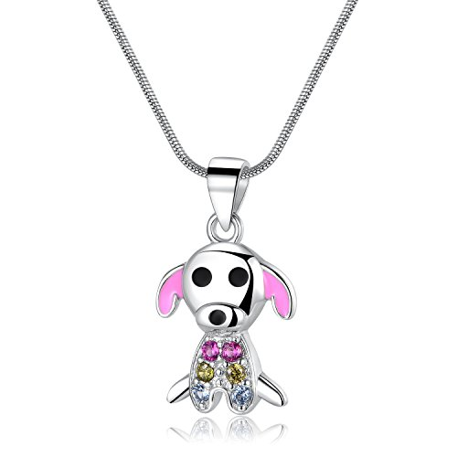 Silver Pink Rhinestone Necklace - Vinjewelry Mankind's Best Friend Dog Shaped Necklace 925 Silver Necklace with Pink Rhinestone Little Girls Gifts