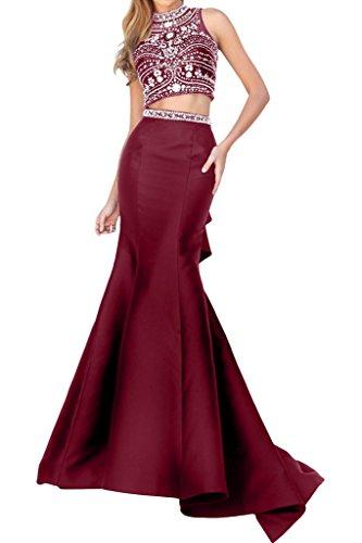 La_mia Brau Hochwertig Steine Zwei-teilig Abendkleider Brautmutterkleider Partykleider Meerjungfrau Figurbetont Rock Burgundy 8Ucy4QdJ0