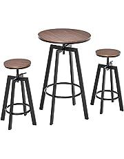 HOMCOM 3 Pieces Bar Table Set w/ 2 Stools Heavy Duty Steel Pub Dining Desk Chairs Industrial Metal Design Bistro Set Height Adjustable