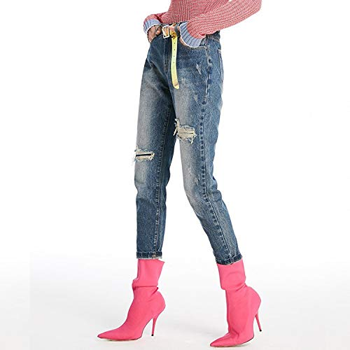 MVGUIHZPO Jeans Femme Jeans, L?cher, Jeans, Mode, neun Fu?, Hosen. XL