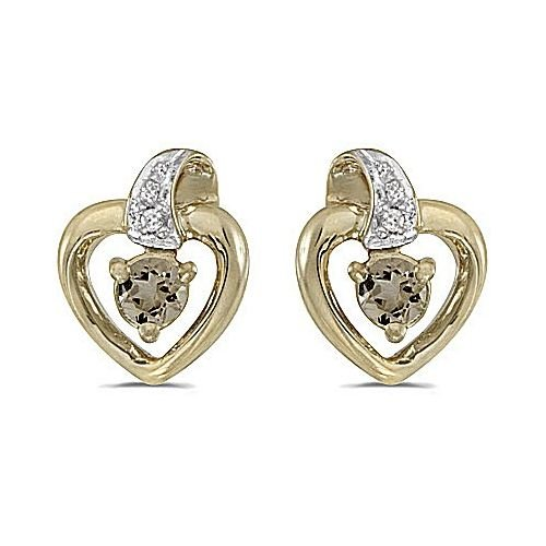 14kt Yellow Gold Round Smokey Quartz Heart Shape Diamond Earrings - Heart Smokey Quartz Earring