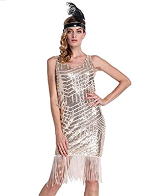 PrettyGuide Women 20s Backless Sequin Geometry Tassel Hem Midi Flapper Cocktail Dress