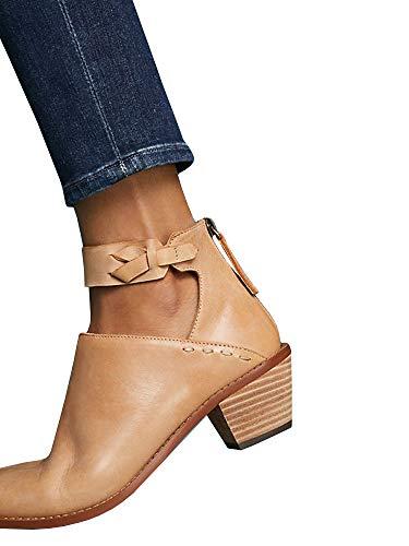 Womens Cutout Ankle Strap Booties Chunky Block Stacked Mid Heel Zip Up Pump Boots