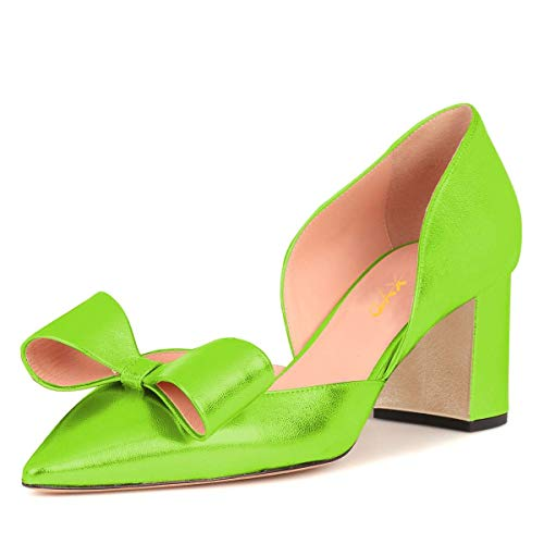 - XYD Women Cute Bows Low Block Heel Pumps Pointed Toe D'Orsay Slip On Office Lady Dress Shoes Size 8.5 Lime Green