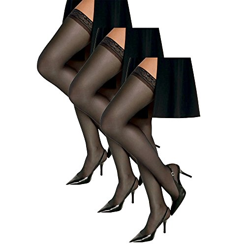 Hanes Women`s Set of 3 Silk Reflections Silky Sheer Thigh High - Best-Seller! AB, Barely Black (Sheer Thigh Highs Silk)