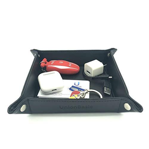 (UnionBasic Small Desk Organizer - Fully PU Leather Jewelry Catchall Key Phone Coin Tray Change Caddy Bedside Storage Box (Black) )