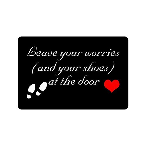 23.6'(L) x 15.7'(W) Humorous Funny Saying & Quotes:Leave Your Worries and Your Shoes at The Door Indoor/outdoor Floor Mat Doormat