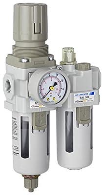 "PneumaticPlus SAU310-N03G Compressed Air Filter Regulator Lubricator Piggyback Combo 3/8"" NPT - Poly Bowl, Manual Drain, Bracket, Gauge"