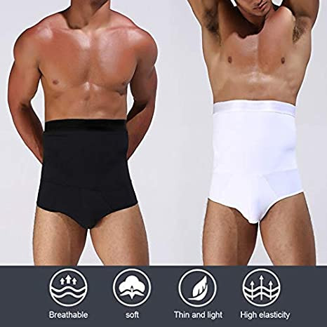 Abracing Mens Slimming Boxer High Waist Body Shaper Breathable Elasticity Tummy Control