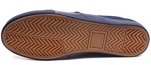 Odema Hommes Conduite Décontractée Slip Sur Mocassins Toile Chaussures Mode Sneakers Bleu