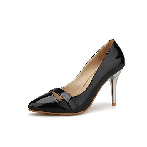 Balamasa Femmes Pointes Stilettos Bout Pointu Sans Fermeture Pompes Uréthane Chaussures Noir