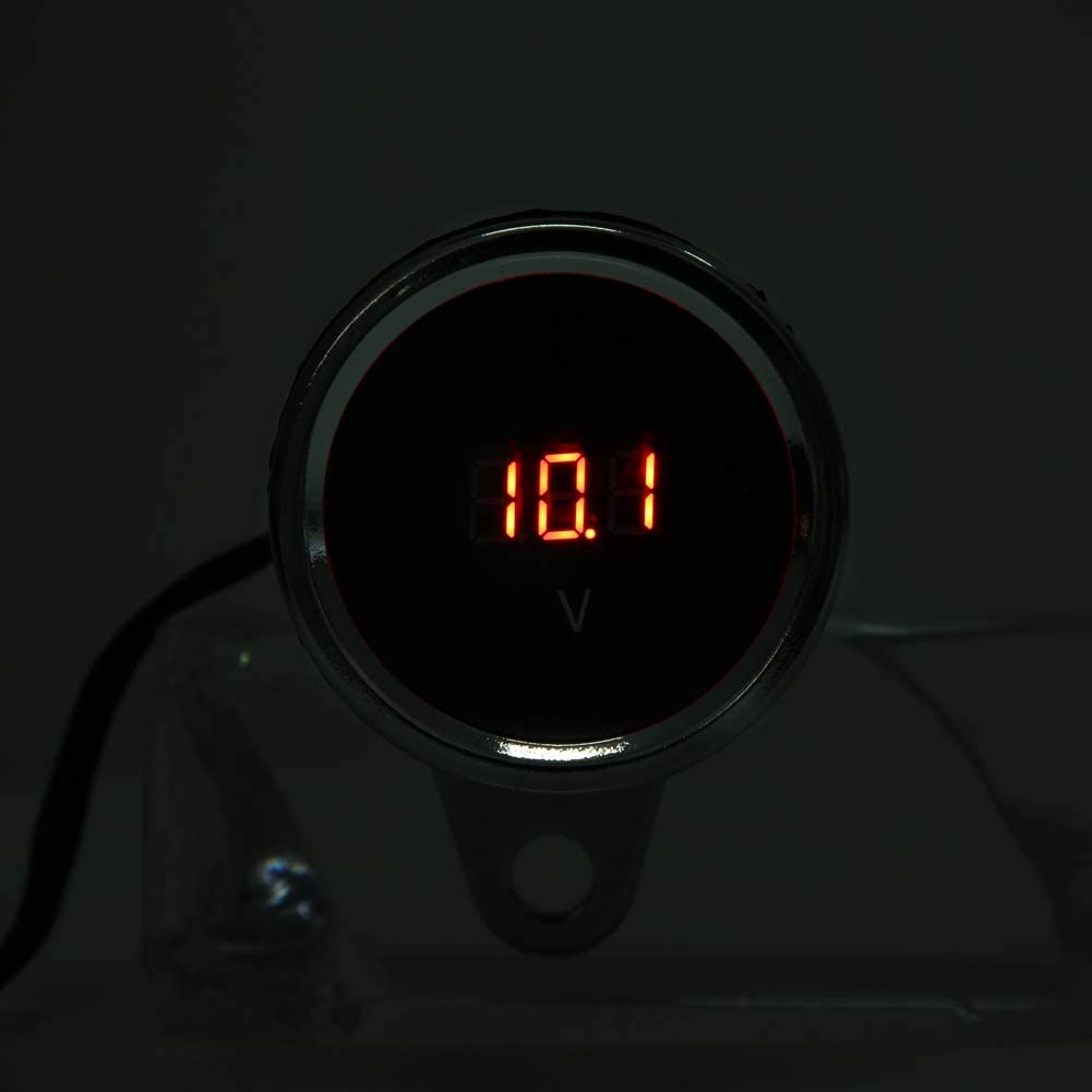 Motorcycle Digital Voltmeter,12V Motorcycle LED Light Digital Voltmeter Voltage Meter Gauge Chrome Plating Waterproof Red Light Motorbike Voltage Meter Gauge Universal