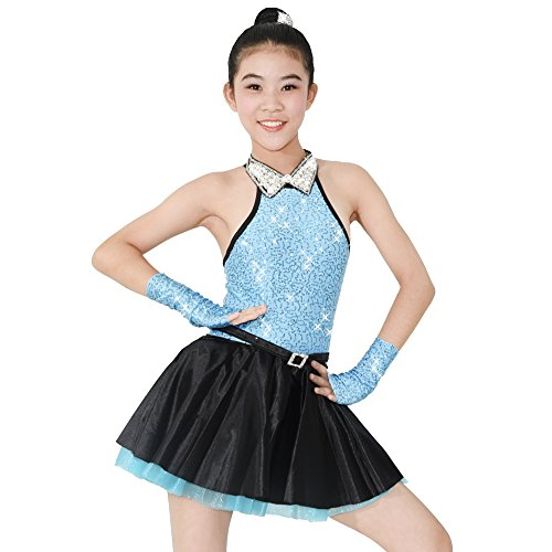 MiDee Jazz Dress Dance Costume High Neck with Sparkle Austria Rhinestones Collar (LA, Blue)