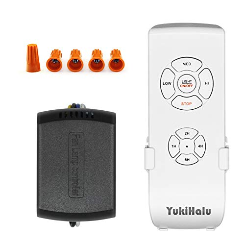 (YUKIHALU 3-in-1 Small Size Universal Ceiling Fan Remote Control and Receiver Kits with Light and Timing Wireless Remote Control for Hunter/Harbor Breeze/Westinghouse/Honeywell/Other Ceiling Fan lamp)