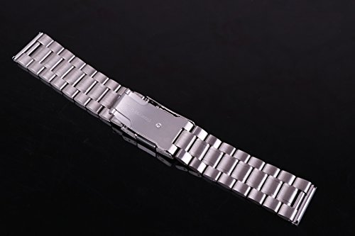 23mm Anti Allergic SS Watch Strap Wristband for Men Silver Solid INOX Steel Brushed Finish Straight End by autulet (Image #2)