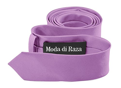 Moda Di Raza- Mens Skinny Slim Neck Tie - Silk Finish Polyester Men Necktie - Solid Color Long Ties for Men - Fashion Tie - - Lavender Polyester Ties