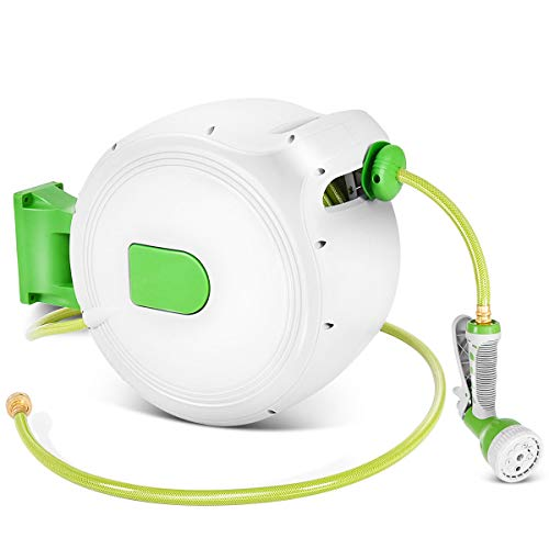 Goplus Retractable Water Hose Reel Wall Mounted Lockable 1/2