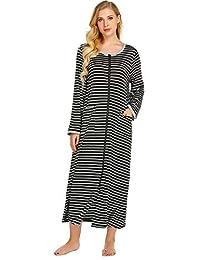 Ekouaer Women Pajamas Robes, Zipper Front House Coat with Pockets Loungewear