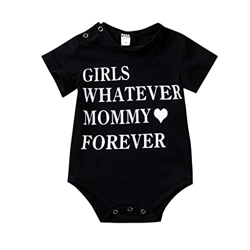 - LiLiMeng 2019 New Toddler Kid Baby Girs Letter Printed Short Sleeve Round Collar Bodysuit Romper Outfits Sunsuit Clothes Black