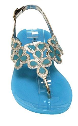 Forever Fairy-25 Mujeres Floral Golden Crystal Thong Correa De Tobillo Ajustable Summer Color Rubber Sole Sandalias 9