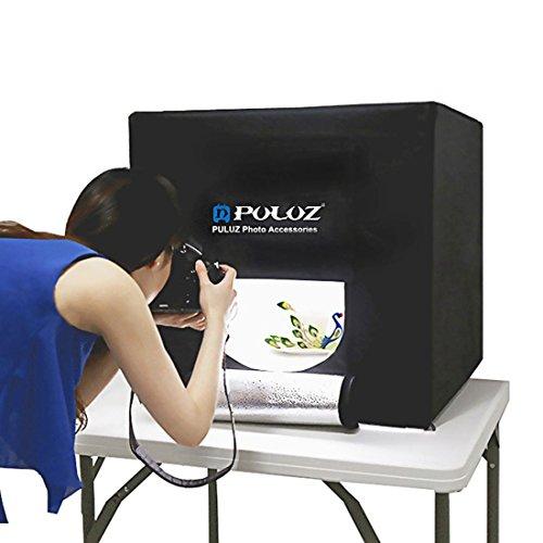 PULUZ Professional Photo Studio 24''x24''x24'' Foldable Photo Lighting Studio Portable Shooting Tent Box Kit with 3 Colors Backdrops (Black, Orange, White) by PULUZ