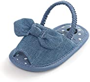 Baby Girls Cotton Bow Soft Bottom Non-Slip Summer Sandals for First Walkers Shoes