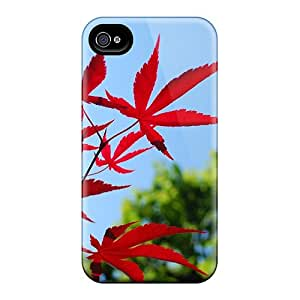 Durable Red Leaves Back Case/cover For Iphone 4/4s