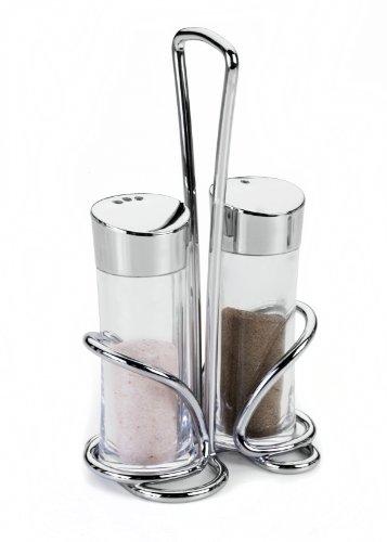 """Metaltex 252870 Salt And Pepper Cruet Set """"Olivia"""", Silver/Transparent"""