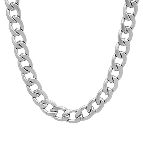 "8.6mm Durable Stainless Steel Cuban Curb Link Chain Necklace, 24"" + Microfiber Jewelry Polishing Cloth"