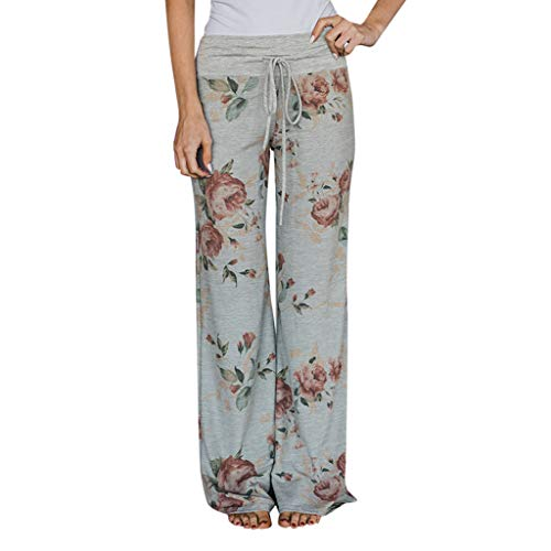 Ulanda Women Fashion Plaid Floral Print Wide Leg Lounge Pants Comfy Drawstring Palazzo Wide Leg Yoga Pants Grey ()