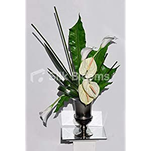 Silk Blooms Ltd Artificial Fresh Touch Ivory Anthurium and Calla Lily Arrangement w/Bamboo and Orchid Leaves 66