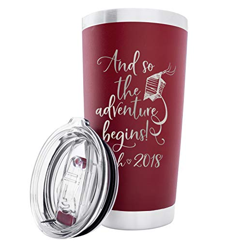 Personalized Graduation Gift Double Wall Tumbler Drinking Thermos Insulated Travel Mug | BPA Free Different Color Options 20 oz Tumbler with Lid - Adventure Begins Customizable with Name and Date -