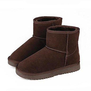 Botas de la mujer confort PU Suede marrón ocasional de resorte plano gris Brown