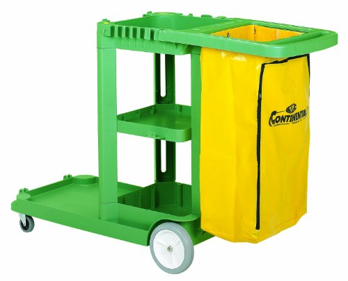 Continental 184-NF, Non-Ferrous Janitorial Cleaning Cart with 25-Gallon Yellow Zippered Vinyl Bag, 55-5/8