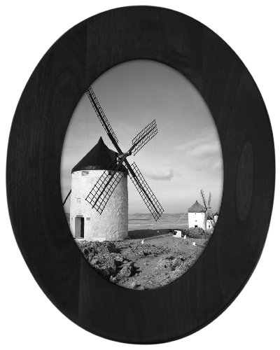 Malden International Designs Classic Oval Black Wood Picture Frame, 5x7, Black ()