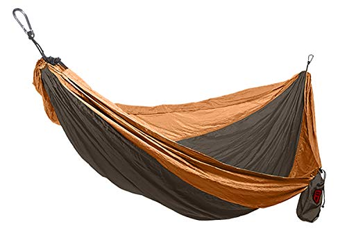 Grand Trunk Single Parachute Nylon Hammock, Brown/Mustard: Portable with Carabiners and Hanging Kit - Perfect for Outdoor Adventures, Backpacking, and ()