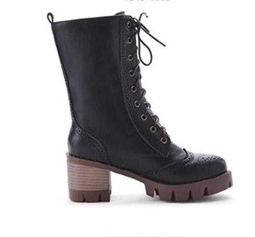 botas de invierno frontal encaje grueso - botas de tacón corto tubo Martin black