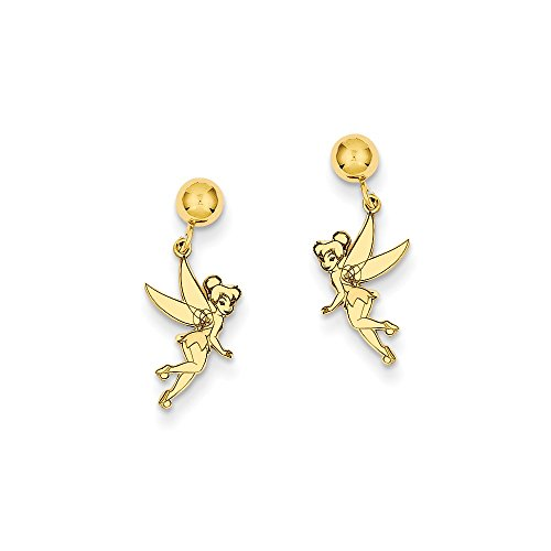 14k Yellow Gold Genuine Disney Tinker Bell Dangle Post Earrings 17x8 (Disney Tinkerbell Earrings)
