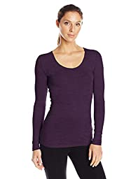 32Degrees Women\'s Scoop Neck, Heather Burgundy, Small