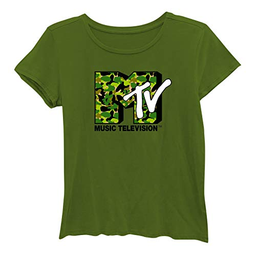 Girl Junior Ringer T-shirts - MTV Ladies Short Sleeve Shirt - #TBT Ladies 1980's Clothing - I Want My Logo Washed Short Sleeve Tee (Washed Olive, Medium)