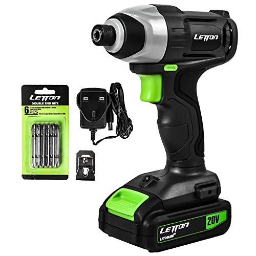 Impact Driver, 20V Lithium Ion 1/4″ Hex Cordless Impact Driver with LED Work Light, 6pcs Screwdriver Bits, Variable Speed (0-2800RPM)- 1.3Ah Battery and Charger Included