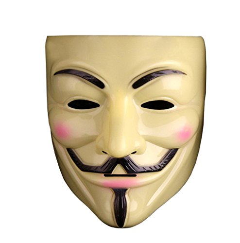 [V for Vendetta Mask Guy Fawkes Anonymous fancy (Yellow(Thick))] (Anonymous Man Costume)