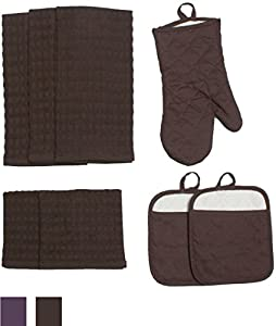 J & M Home Fashions Solid Kitchen Towel Set