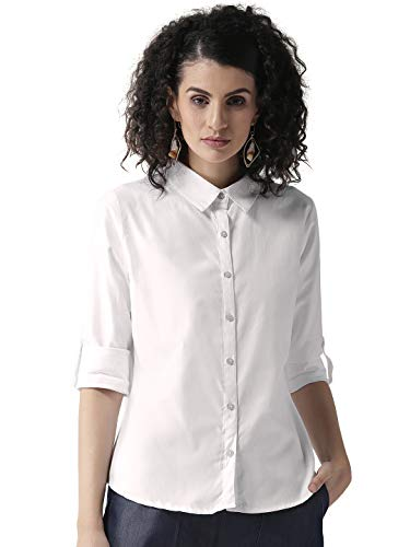 Style Quotient Women Off-White Printed Semi-Sheer Top – White