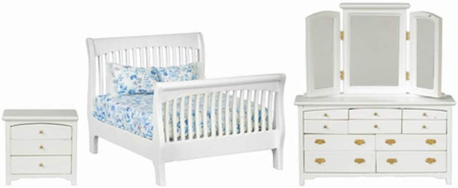 Melody Jane Dollhouse White Double Bedroom Furniture Set with Slatted Sleigh Bed 1:12