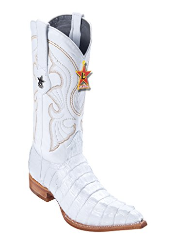- Los Altos Men's 3X-Toe White Genuine Leather Caiman Tail Western Boots