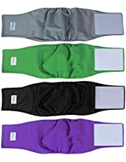Teamoy 4pcs Resuable Wrap Diapers for Male Dogs, Washable Puppy Belly Band (M, Black+ Gray+ Green+ Purple)