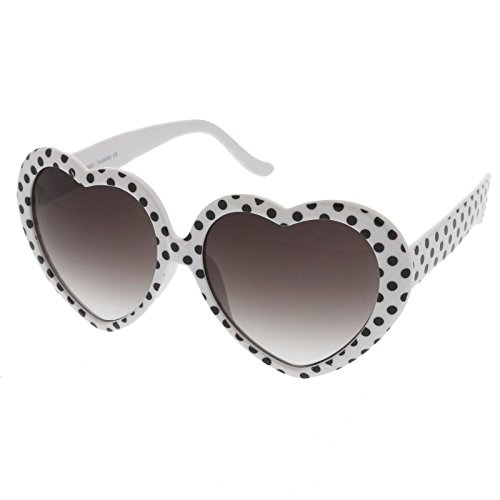 zeroUV - Women's Oversize Neutral-Colored Lens Heart Shaped Sunglasses 55mm (White-Black Dots / Lavende) (Sunglasses White Heart Shaped)