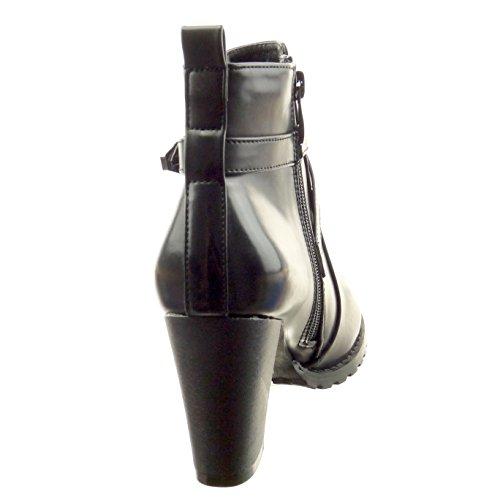 Sopily - Scarpe da Moda Stivaletti - Scarponcini biker alla caviglia donna fibbia Tacco a blocco tacco alto 8.5 CM - Nero
